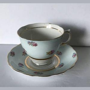 Colclough Blue Pink Roses Teacup & Saucer